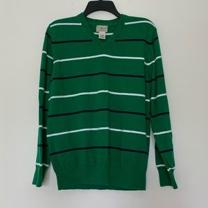 L.L. Bean V-Neck Green Striped Long Sleeve Sweater